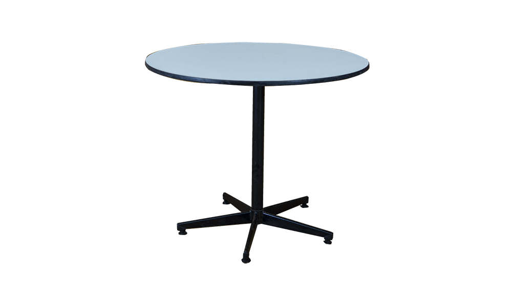 large round white top table black support