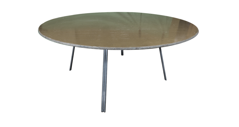 large round wood section table
