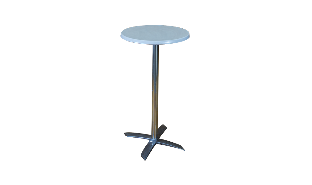 tall white top table stainless support