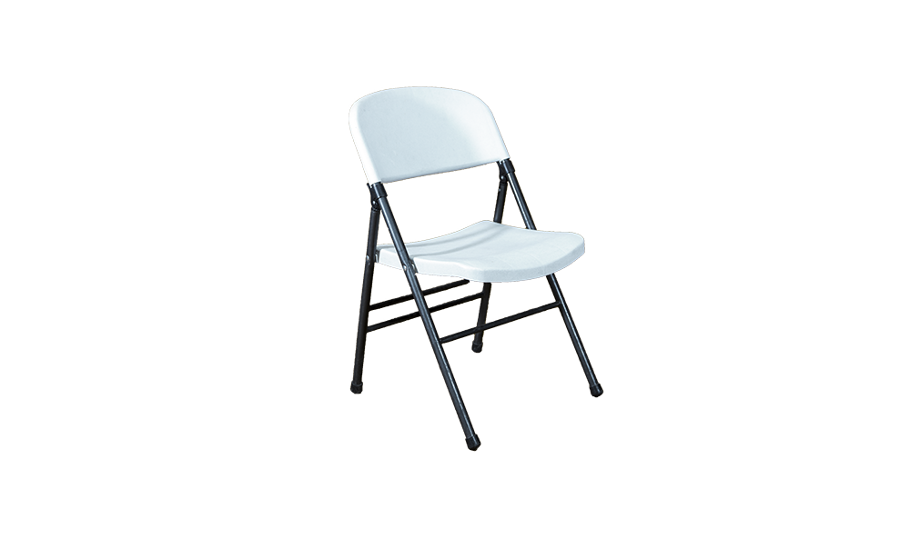 white folding chair black frame