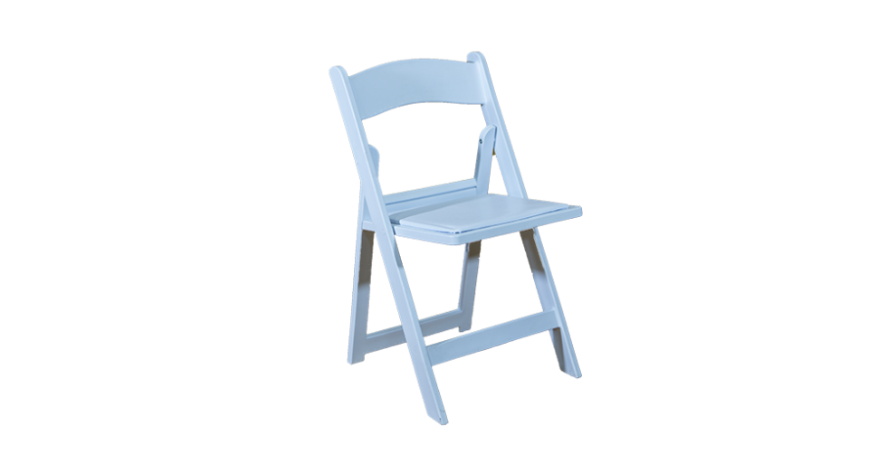 white folding chair with pad